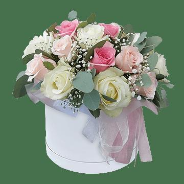 Box mit den vielfarbigen Rosen