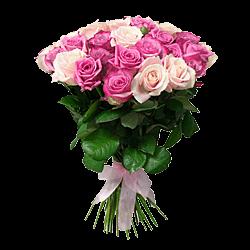Blumenstrauß aus den lila und rosigen Rosen
