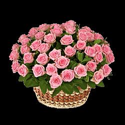 Korb mit den rosa Rosen