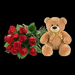 Rote Rosen und ein Bär