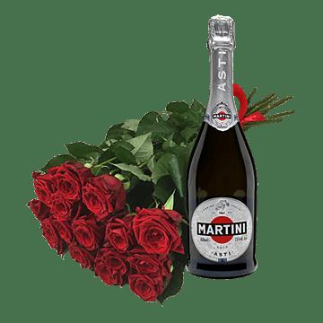 Blumenstrauß aus roten Rosen und Sekt
