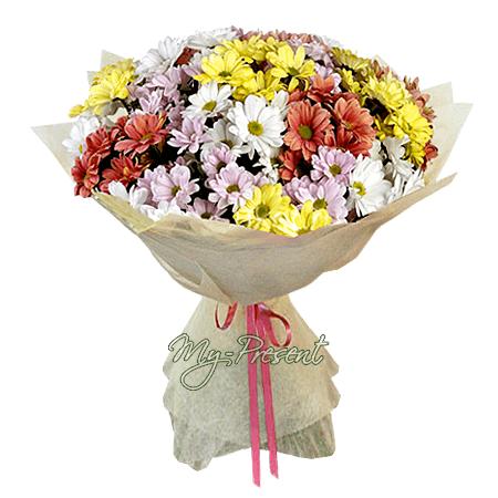Blumenstrauß aus den vielfarbigen Chrysanthemen