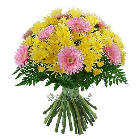 Blumenstrauß aus Germinis und Chrysanthemen geschmückt Grünpflanzen