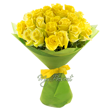 Blumenstrauß aus gelben Rosen (80 cm.)
