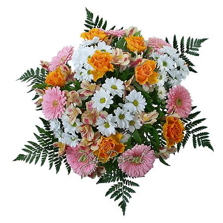Blumenstrauß aus Rosen, Germinis und Chrysanthemen geschmückt Grünpflanzen