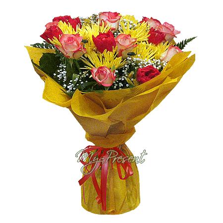 Blumenstrauß aus Rosen, Chrysanthemen und Tulpen