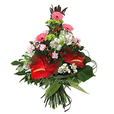 Blumenstrauß aus Anthurie, Alstroemerien, Germinis