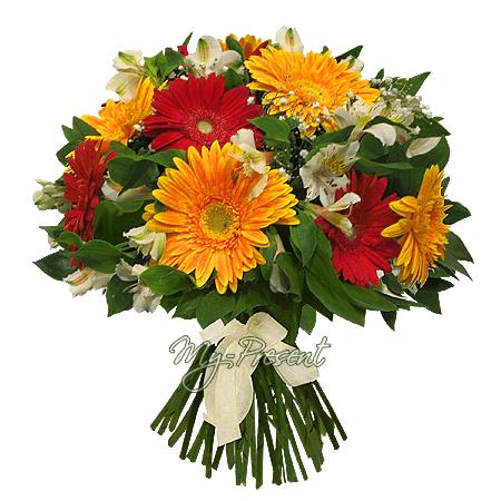 Blumenstrauß aus Germinis und Alstroemerien