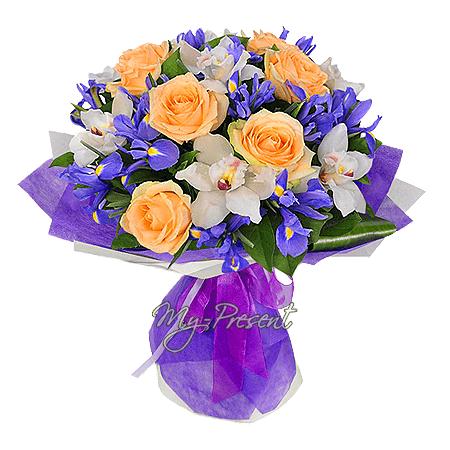 Blumenstrauß aus Rosen, Orchideen und Irisen