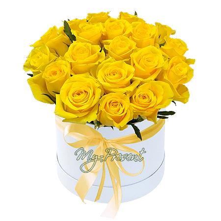 Gelbe Rosen in einer Box