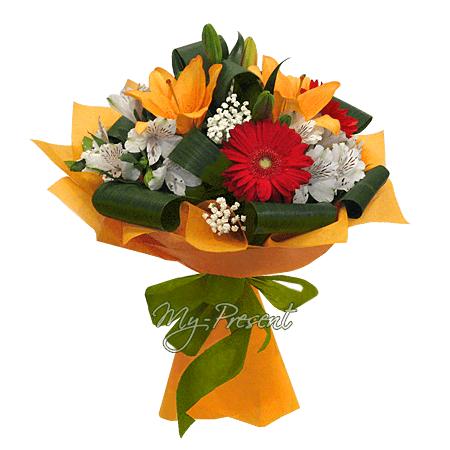 Blumenstrauß aus Lilien, Germinis und Alstroemerien