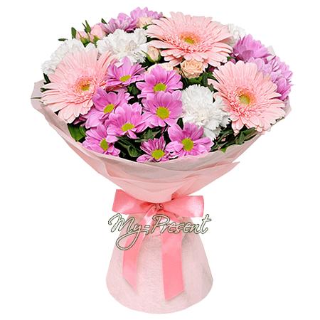 Blumenstrauß aus Germinis und Chrysanthemen