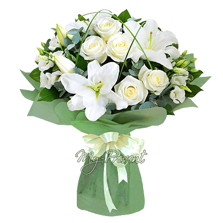 Blumenstrauß aus Rosen, Lilien und Lisianthus