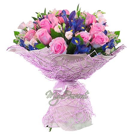 Blumenstrauß aus Rosen, Irisen und Lisianthus
