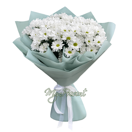 Blumenstrauß aus weißen Chrysanthemen in Kiew