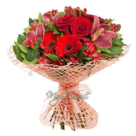 Blumenstrauß aus Rosen, Orchideen und Germinis