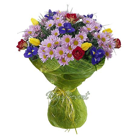 Blumenstrauß aus Chrysanthemen, Irisen, Rosen