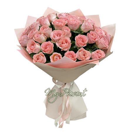 Blumenstrauß aus rosa Rosen (80 cm.)
