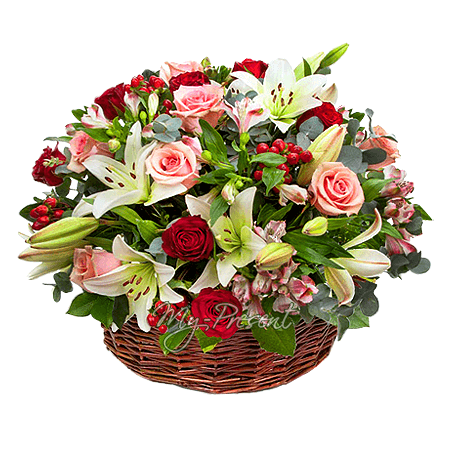 Korb mit Lilien, Rosen, Alstroemerien