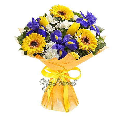Blumenstrauß aus Germinis, Tulpen, Irisen