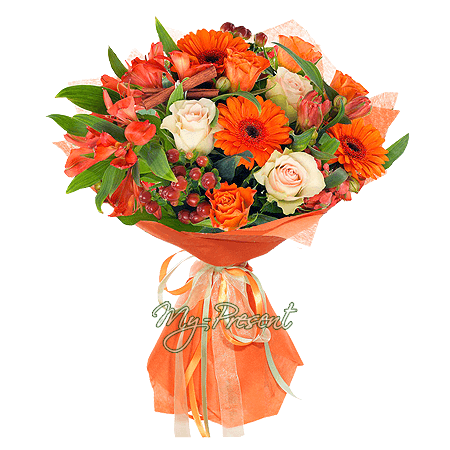 Blumenstrauß aus Rosen, Germinis und Alstroemerien in Riga