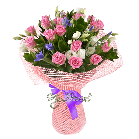 Blumenstrauß aus Rosen, Lisianthus, Irisen