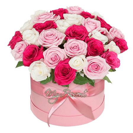 Vielfarbige Rosen in einer Box