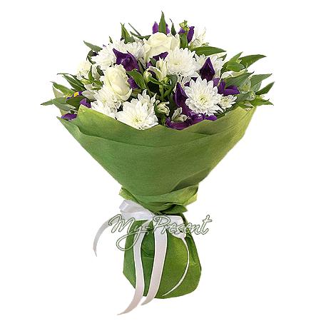 Blumenstrauß aus Rosen, Chrysanthemen, Irisen and Alstroemerien