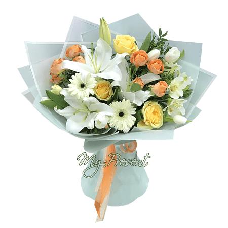 Blumenstrauß aus Rosen, Lilien und Germinis