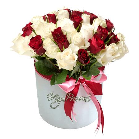 Roten und weißen Rosen in einer Box