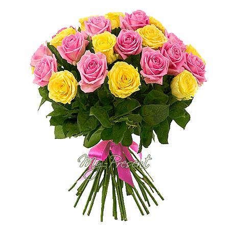 Blumenstrauß aus den gelben und rosigen Rosen (60 cm.)