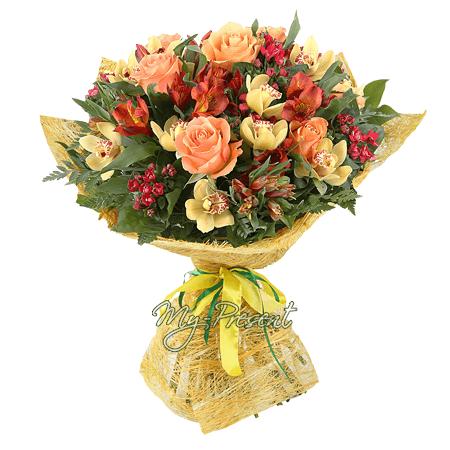 Blumenstrauß aus Rosen, Orchideen und Alstroemerien
