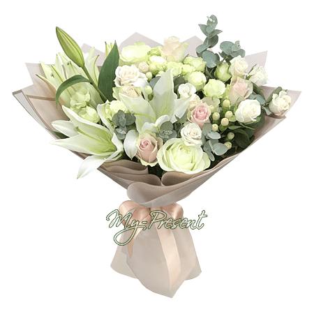 Blumenstrauß aus Rosen und weißen Lilien