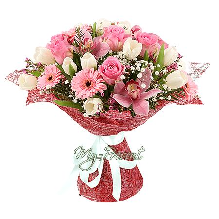 Blumenstrauß aus Rosen, Orchideen, Tulpen und Germinis