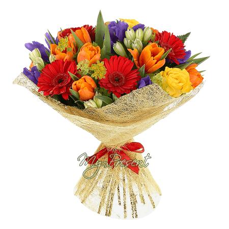 Blumenstrauß aus Tulpen, Germinis, Alstroemerien und Irisen