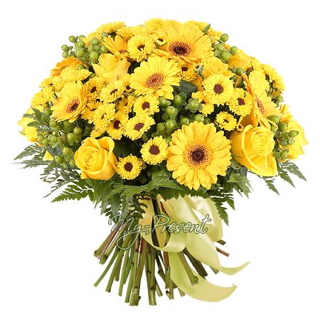 Blumenstrauß aus Rosen, Gerbera und Chrysanthemen