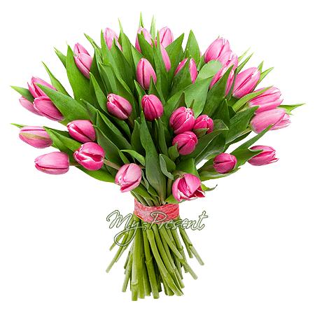 Blumenstrauß aus rosa Tulpen