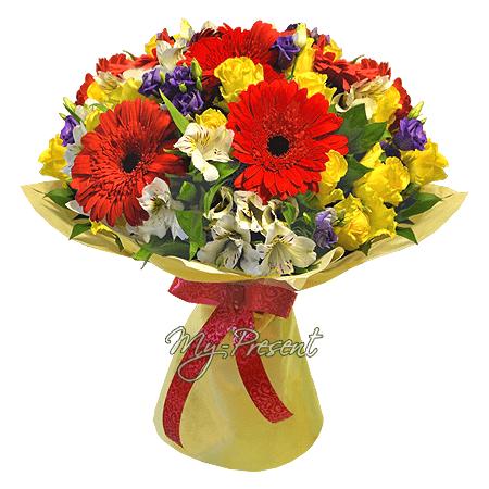 Blumenstrauß aus Rosen, Germinis, Alstroemerien