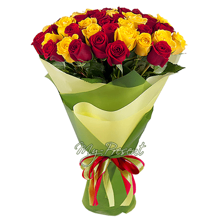Blumenstrauß aus Rosen (80 cm.) in Saratow