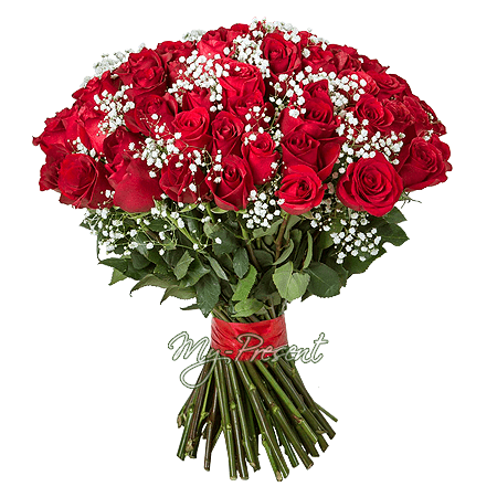 Blumenstrauß aus roten Rosen (80 cm.)
