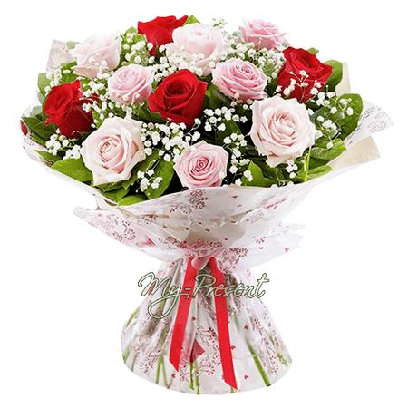 Blumenstrauß aus den vielfarbigen Rosen (60 cm.)