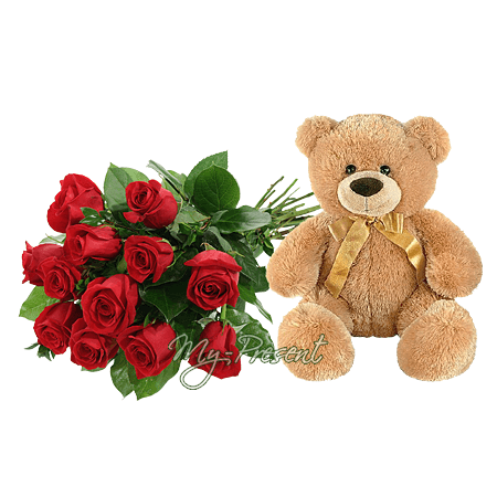 Zusammensetzung - Bär und Rosen